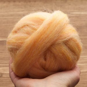 Apricot Wool Roving for Needle Felting, Wet Felting, Spinning, Light Orange, Pastel, Peach, Skin Tone, Fiber Art Supplies, DIY Project