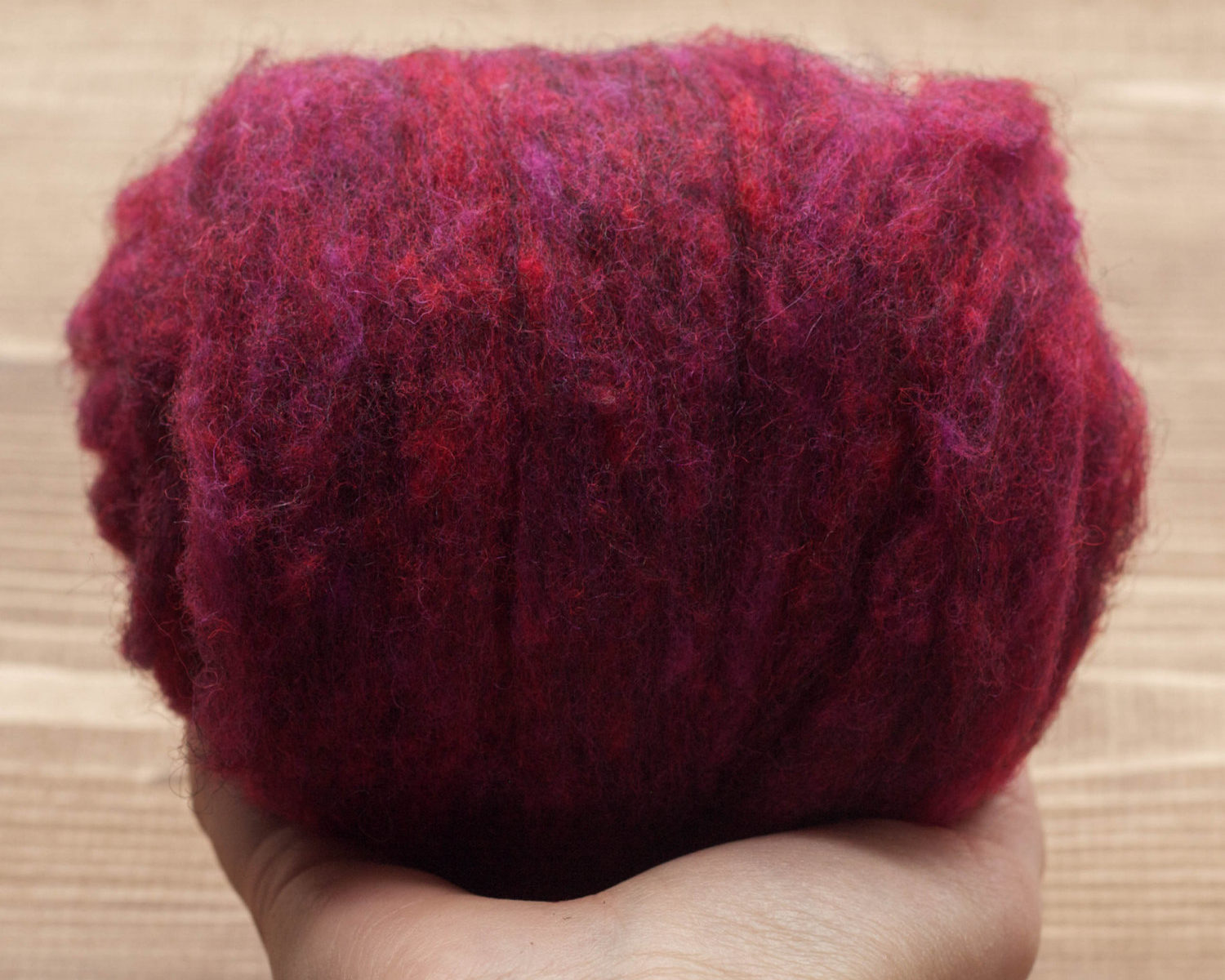 Black Cherry Needle Felting Wool, Wool Batting, Batts, Wet Felting, Spinning, Dyed Felting Wool, Maroon, Dark Magenta, Fiber Art Supplies