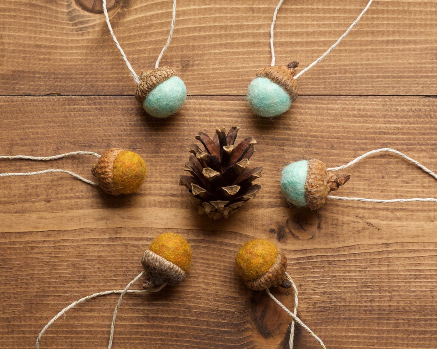 Felt Acorn Christmas Ornaments in Mustard and Mint, Wool Felted Acorns, Fall, Holiday Gift Tie On, Winter, Hostess Gift, Rustic, Favors