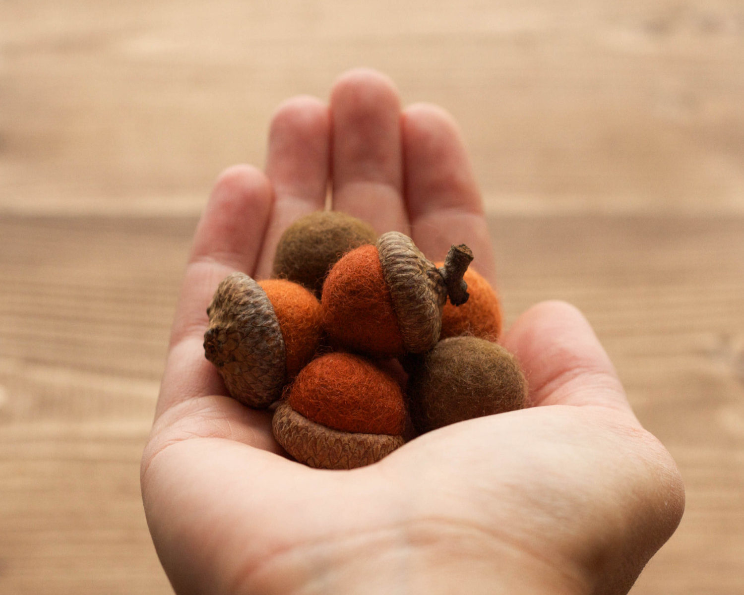 Felted Acorns, Rust, Orange, Copper, Brown, Earth Colors, Fall, Winter, Natural Decoration, Weddings, Woodland Decor, Rustic, Party Favors