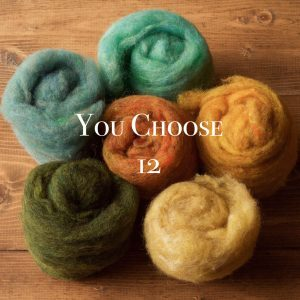 Needle Felting Wool Assortment, YOU CHOOSE 12, Customized Fiber Sampler, Batting, Batts, Wet Felting, Fiber Arts, Craft Supplies