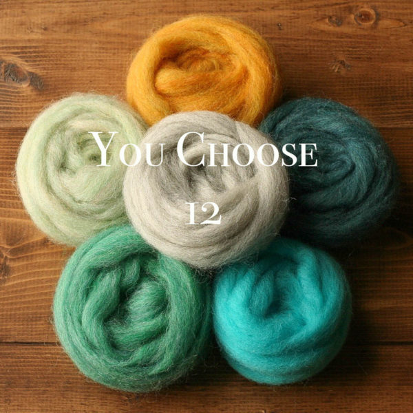 Needle Felting Wool Assortment, YOU CHOOSE 12, Customized Fiber Sampler, Roving, Wool Rove, Wet Felting, Fiber Arts, Craft Supplies