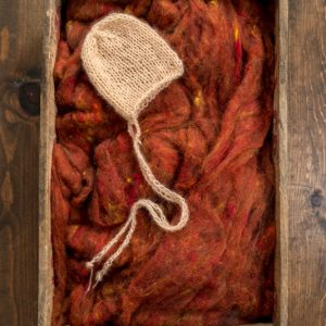 Newborn Photography Prop, Wool Fluff Basket Stuffer, Filler, Rust, Burnt Orange, Textured Wool Batting, Backdrop, Natural, Fleece