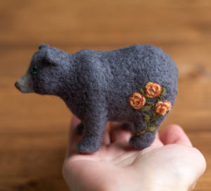 Peach Rose Bear Soft Sculpture, Felt Bear, Floral, Needle Felted, Gray Bear, Gift for Nature Lover, Woodland, Nature Inspired, Collectible
