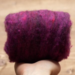 Plum Needle Felting Wool, Wool Batting, Batts, Wet Felting, Spinning, Dyed Felting Wool, Dark Purple, Eggplant, Fiber Art Supplies