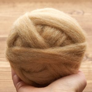 Sandstone Wool Roving for Needle Felting, Wet Felting, Spinning, Dyed Felting Wool, Camel, Tan, Beige, Fiber Art Supplies