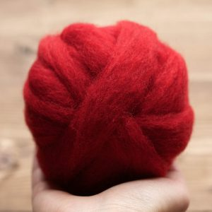 Wool Roving Supply for Needle Felting, Valentine DIY, Red, Carmine, Wet Felting, Spinning, Dyed Felting Wool, Dark Red, Fiber Art Supplies