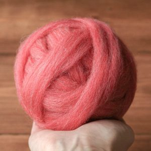 Wool Roving Supply, Needle Felting Wool in Ginger Flower Pink, Berry, Coral, Wet Felting, Spinning, Chunky Yarn, DIY, Felt, Fiber Arts