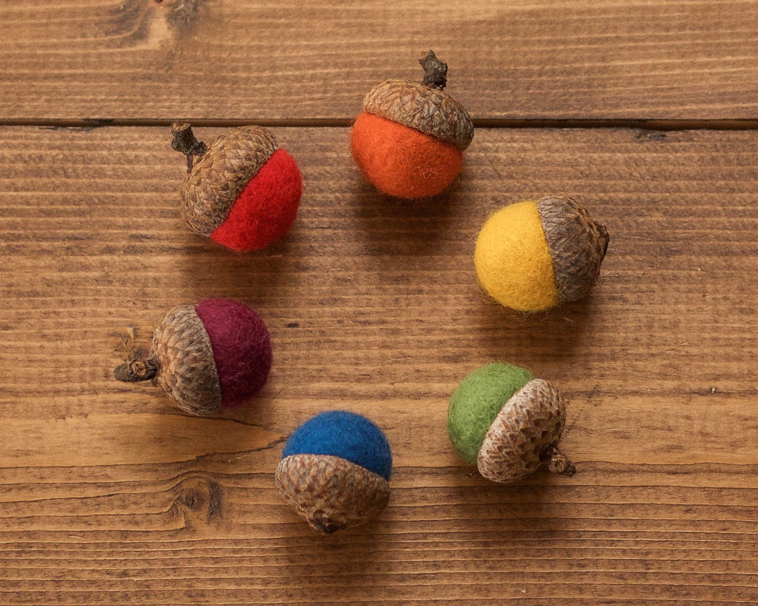 25% Donated to LGBT Charity, Rainbow Felted Acorns, Felt Acorn, Home Decor, Natural, Waldorf, Weddings, Woodland Decor, Rustic, Party Favors