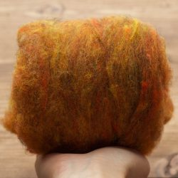 Amber Needle Felting Wool, Wool Batting, Batts, Wet Felting, Spinning, Dyed Felting Wool, Dark Yellow, Mustard, Gold, Fiber Art Supplies