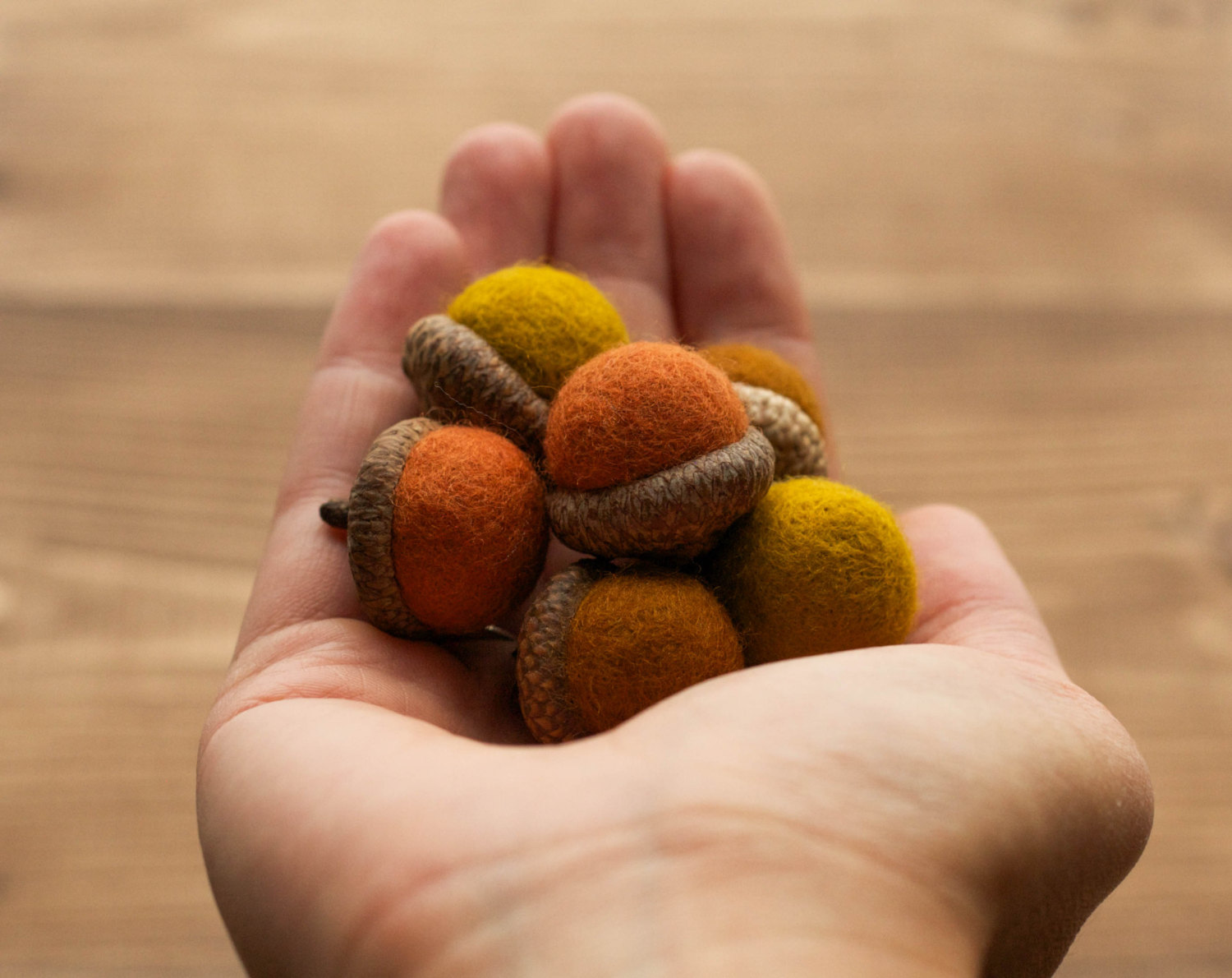 Autumn Leaves Felted Acorns, Rust, Mustard Yellow, Orange, Fall Colors, Thanksgiving, Weddings, Woodland Decor, Rustic, Party Favors