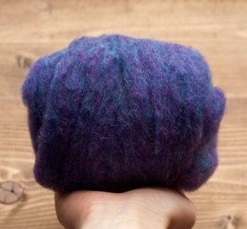 Blue Hyacinth Needle Felting Wool, Wool Batting, Batts, Wet Felting, Spinning, Dyed Felting Wool, Blue Violet, Dark Blue, Fiber Art Supplies