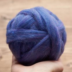 Blue Violet Wool Roving for Needle Felting, Wet Felting, Spinning, Dyed Felting Wool, Fiber Art Supplies