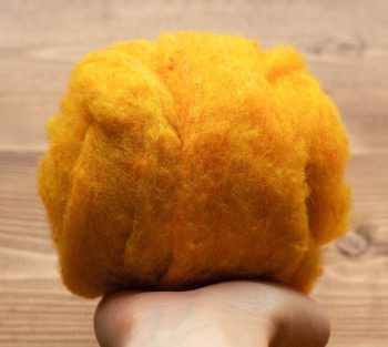 Butternut Needle Felting Wool, Golden Yellow, Wool Batting, Batts, Wet Felting, Spinning, Dyed Felting Wool, Fiber Art Supplies