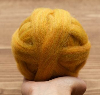 Butterscotch Yellow Wool Roving for Needle Felting, Wet Felting, Spinning, Gold, Mustard, Fiber Arts Supplies