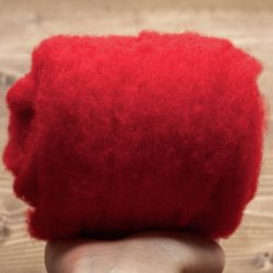 Classic Red Needle Felting Wool, Wool Batting, Batts, Wet Felting, Spinning, Dyed Felting Wool, Holly Red, Christmas Red, Fiber Art Supplies