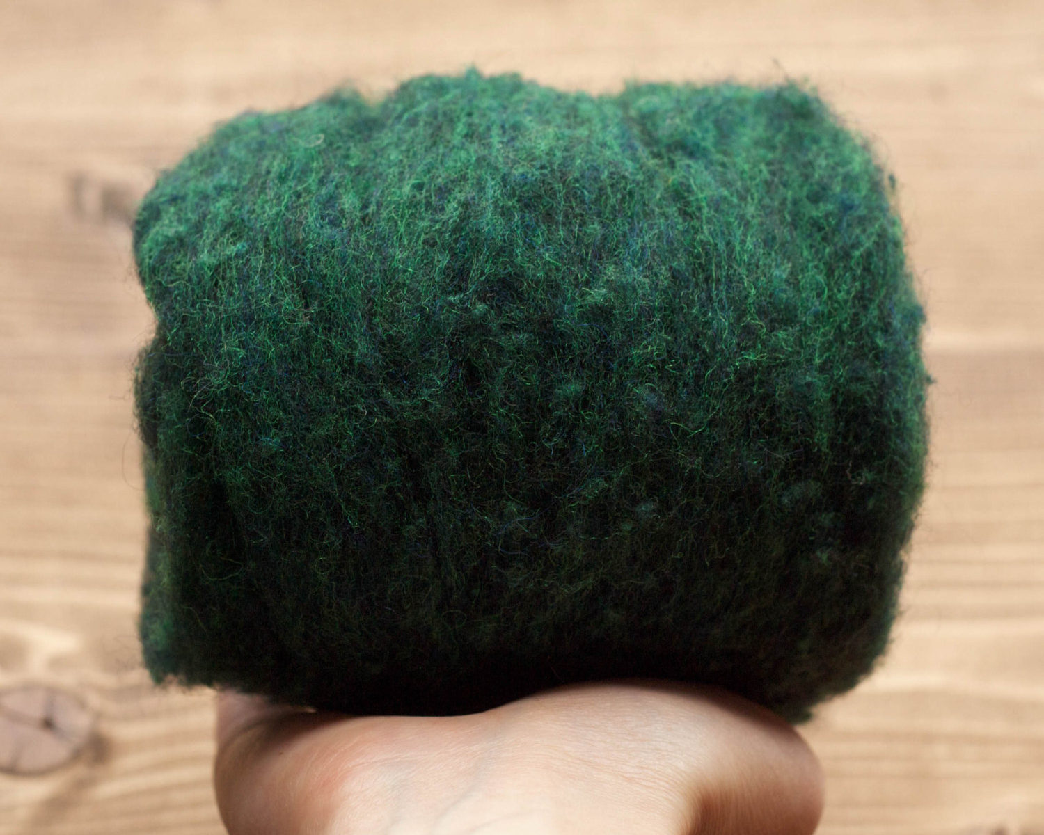 Evergreen Needle Felting Wool, Wool Batting, Batts, Wet Felting, Spinning, Dyed Felting Wool, Forest Green, Fiber Art Supplies