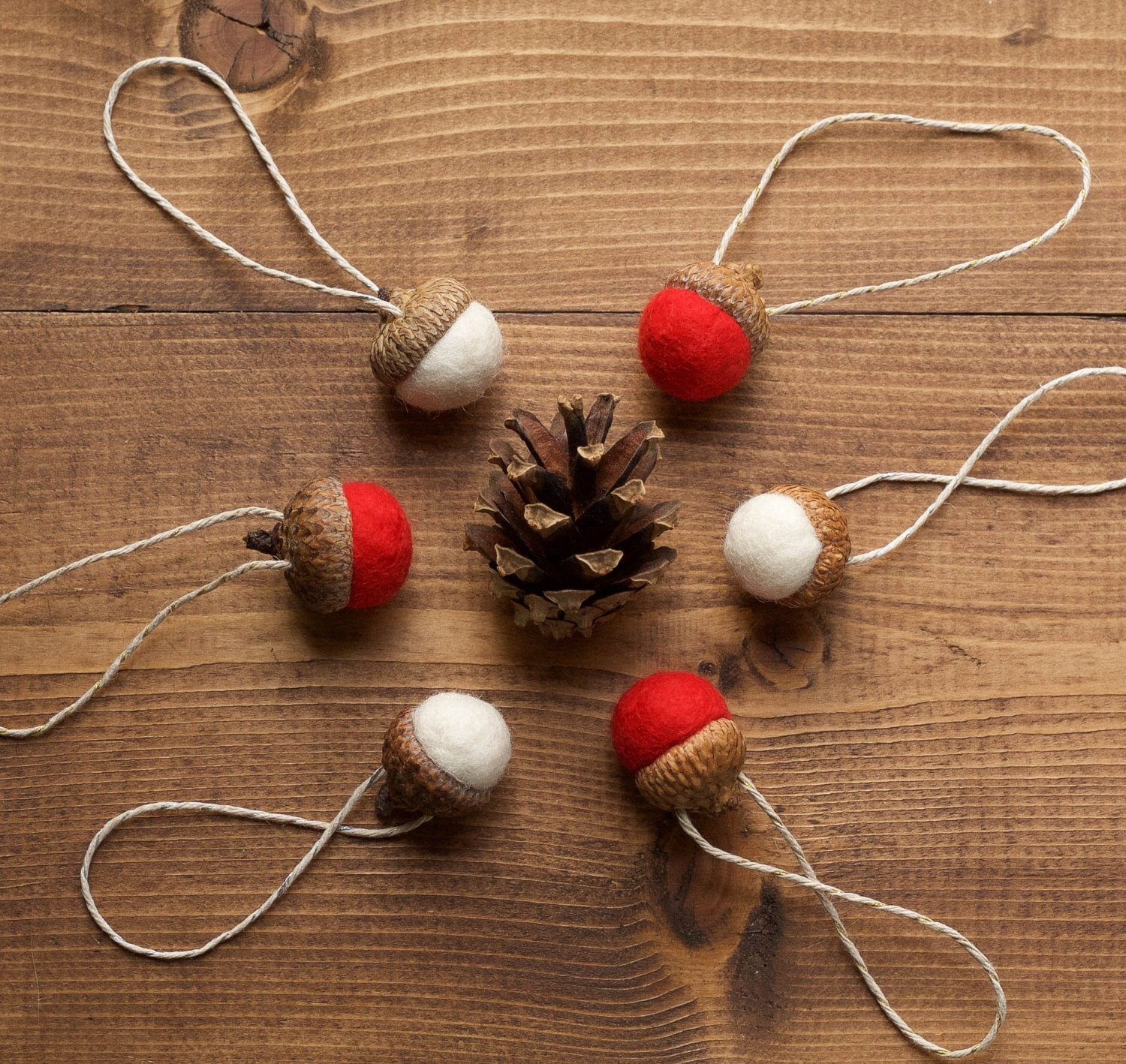 Felt Acorn Christmas Ornaments In Red And White, Wool Felted Acorns,  Christmas, Holiday