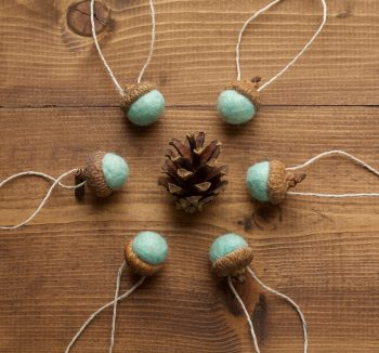 Felted Acorn Ornaments in Spearmint, Mint, Wintergreen, Christmas, Holiday Gift Tie On, Fall, Winter, Hostess Gift, Thanksgiving, Weddings