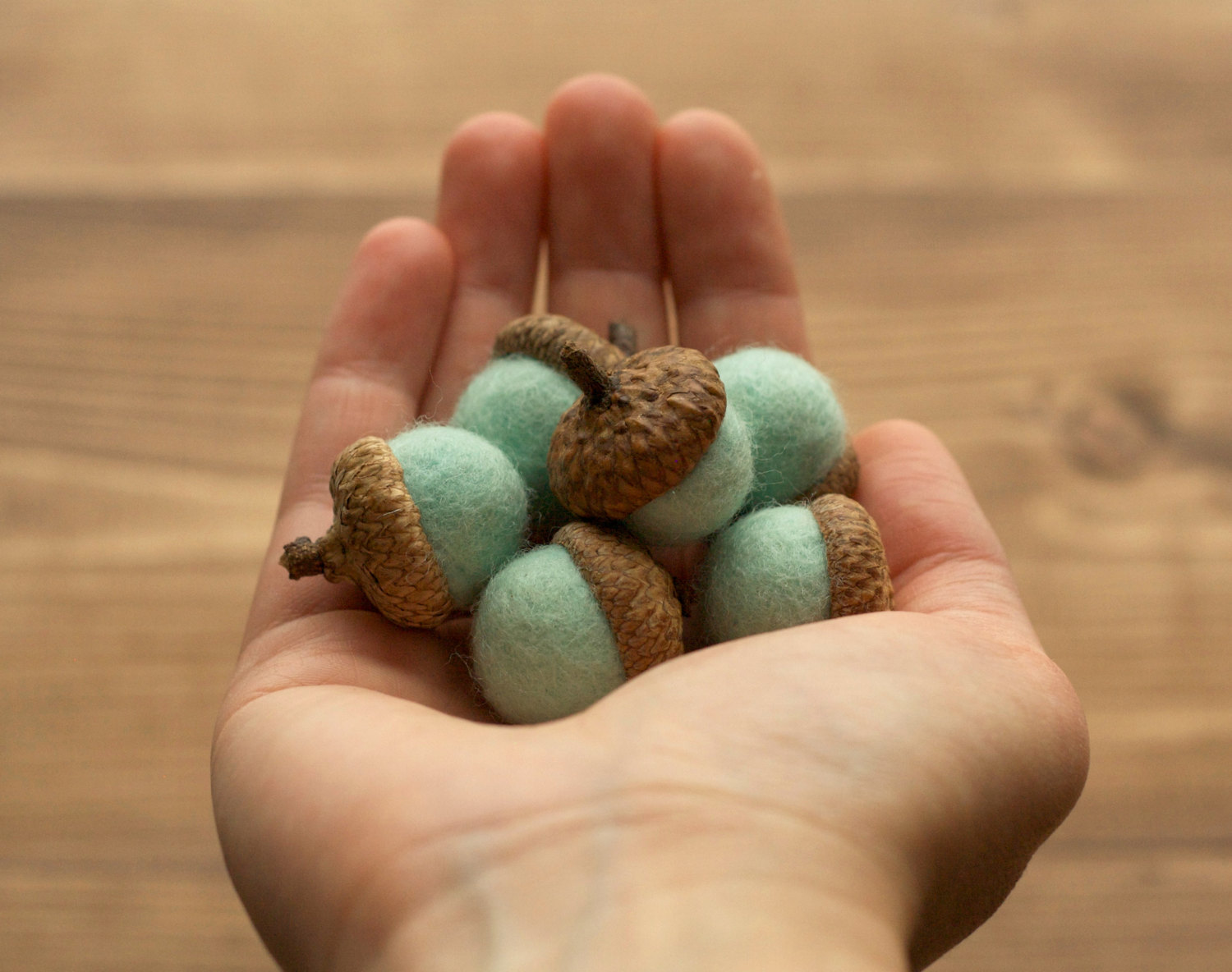 Felted Acorns in Wintergreen, Mint, Spring, Winter Home Decor, Nature Inspired, Weddings, Woodland Decor, Baby Shower, Rustic, Party Favors