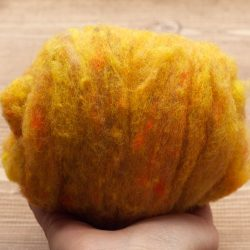 Harvest Gold Needle Felting Wool, Wool Batting, Batts, Wet Felting, Spinning, Dyed Felting Wool, Mustard, Yellow, Fiber Art Supplies