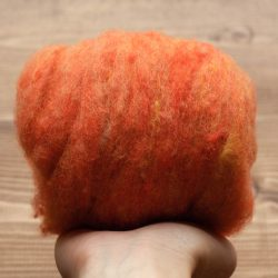 Harvest Moon Orange Needle Felting Wool, Wool Batting, Batts, Wet Felting, Spinning, Dyed Felting Wool, Fiber Art Supplies
