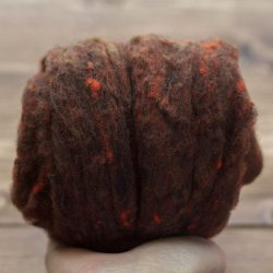 Hickory Brown Needle Felting Wool, Wool Batting, Batts, Fleece, Wet Felting, Spinning, Dyed Felting Wool, Autumn Brown, Fiber Art Supplies