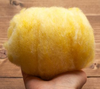 Lemon Yellow Needle Felting Wool, Wool Batting, Batts, Fleece, Wet Felting, Spinning, Dyed Felting Wool, Light Yellow, Fiber Art Supplies