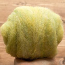 Lemongrass Needle Felting Wool, Wool Batting, Batts, Fleece, Wet Felting, Spinning, Dyed Felting Wool, Citron, Yellow Green, Fiber Arts