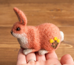 Needle Felted Pink Rabbit with Dandelions, Miniature, Bunny, Needle Felt Soft Sculpture, New Baby Girl, Nursery, Woodland, Collectible