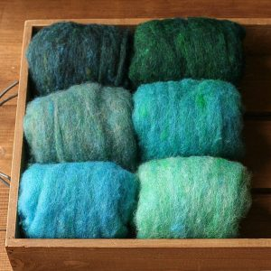 Needle Felting Wool Assortment, Batts, Fiber Sampler, Shades of the Sea, Blue Green, Teal, Sea Green, Wet Felting, Spinning, Felt, Supplies