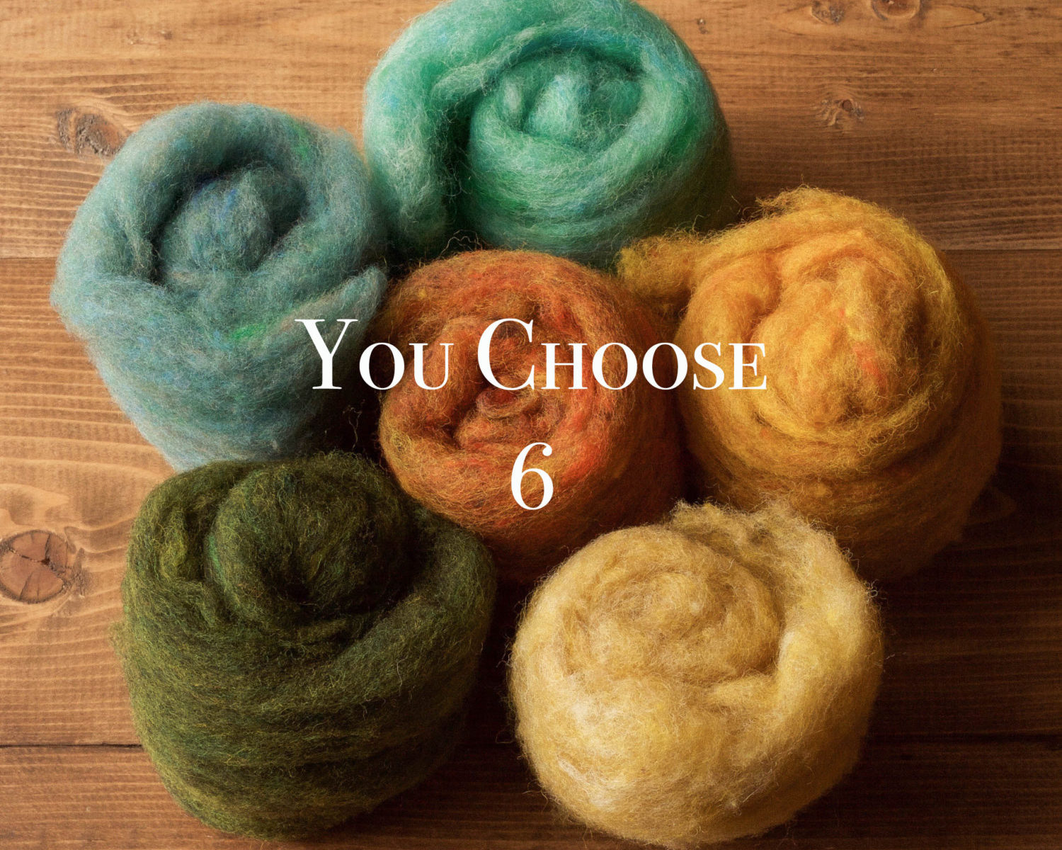Needle Felting Wool Assortment, YOU CHOOSE 6, Customized Fiber Sampler, Batting, Batts, Wet Felting, Fiber Arts, Craft Supplies
