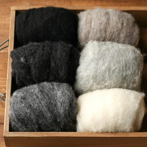 Needle Felting Wool, Batts, Assortment, Fiber Sampler, Neutrals, Black, White, Gray, Shadow and Light, Wet Felting, Spinning, Supplies