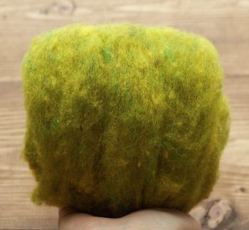 Needle Felting Wool in Golden Pear Green, Wool Batting, Batts, Wet Felting, Spinning, Dyed Batt, Chartreuse, Citron, Fiber Art Supplies