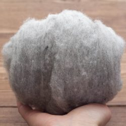 Needle Felting Wool in Silver Mist, Light Gray, Grey, Heather, Wool Batting, Batts, Wet Felting, Spinning, Fiber Art Supplies