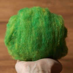 Needle Felting Wool in Willow Moss Green, Wool Batting, Batts, Wet Felting, Spinning, Dyed Felting Wool, Kiwi, Lime, Fiber Art Supplies