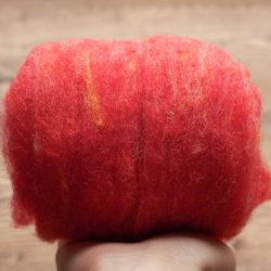 Needle Felting Wool in Zinnia, Coral, Pink, Red, Wool Batting, Batts, Fleece, Wet Felting, Spinning, Dyed Felting Wool, Fiber Art Supplies