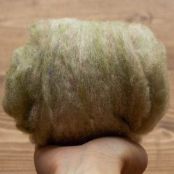 New Jade Green Needle Felting Wool, Wool Batting, Batts, Wet Felting, Spinning, Dyed Felting Wool, Light Green, Sage, Fiber Art Supplies