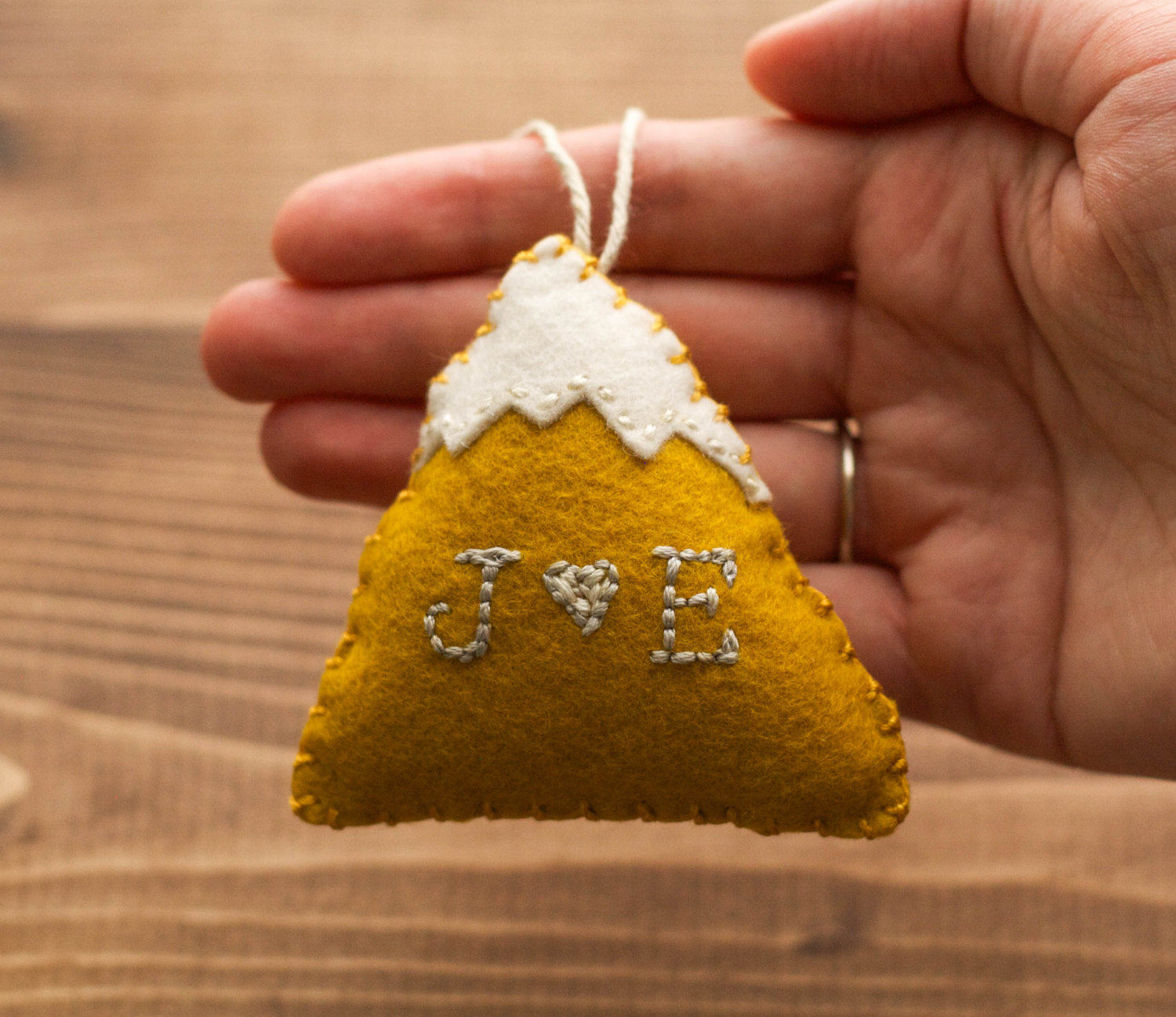 Personalized couples christmas ornaments - Personalized Snowy Mountain Felt Christmas Ornament For Him Fall Winter Anniversary