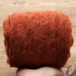 Rust Orange Needle Felting Wool, Wool Batting, Batts, Wet Felting, Spinning, Dyed Felting Wool, Fiber Art Supplies