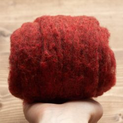 Rust Red Needle Felting Wool, Wool Batting, Batts, Wet Felting, Spinning, Dyed Felting Wool, Barn Red, Red Ochre, Fiber Art Supplies