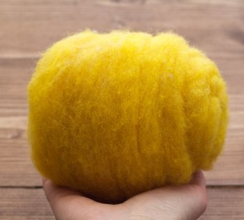 Saffron Yellow Needle Felting Wool, Wool Batting, Batts, Wet Felting, Spinning, Dyed Felting Wool, Golden Yellow, Fiber Art Supplies