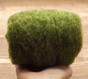 Wool Batting in Moss Green, Needle Felting Wool, Wool Batt, Batts, Fleece, Wet Felting, Spinning, Dyed Wool, Grass Green, Fiber Art Supplies