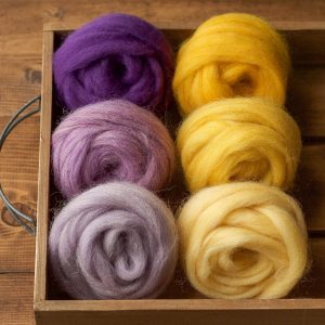 Wool Roving for Needle Felting, Assortment, Fiber Sampler, Flowers of Spring, Wet Felting, Spinning, Felting Wool, Yellow, Purple, Supplies