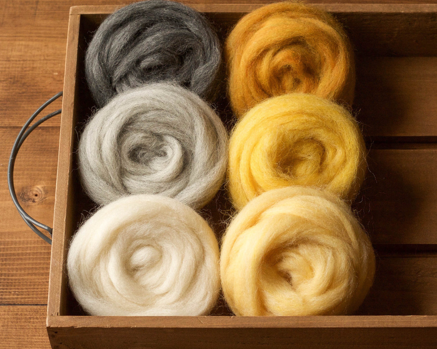 Wool Roving for Needle Felting, Assortment, Fiber Sampler, Gold and Grey, Yellow, Gray, Wool Rove, Felting Wool, Craft Supplies, DIY