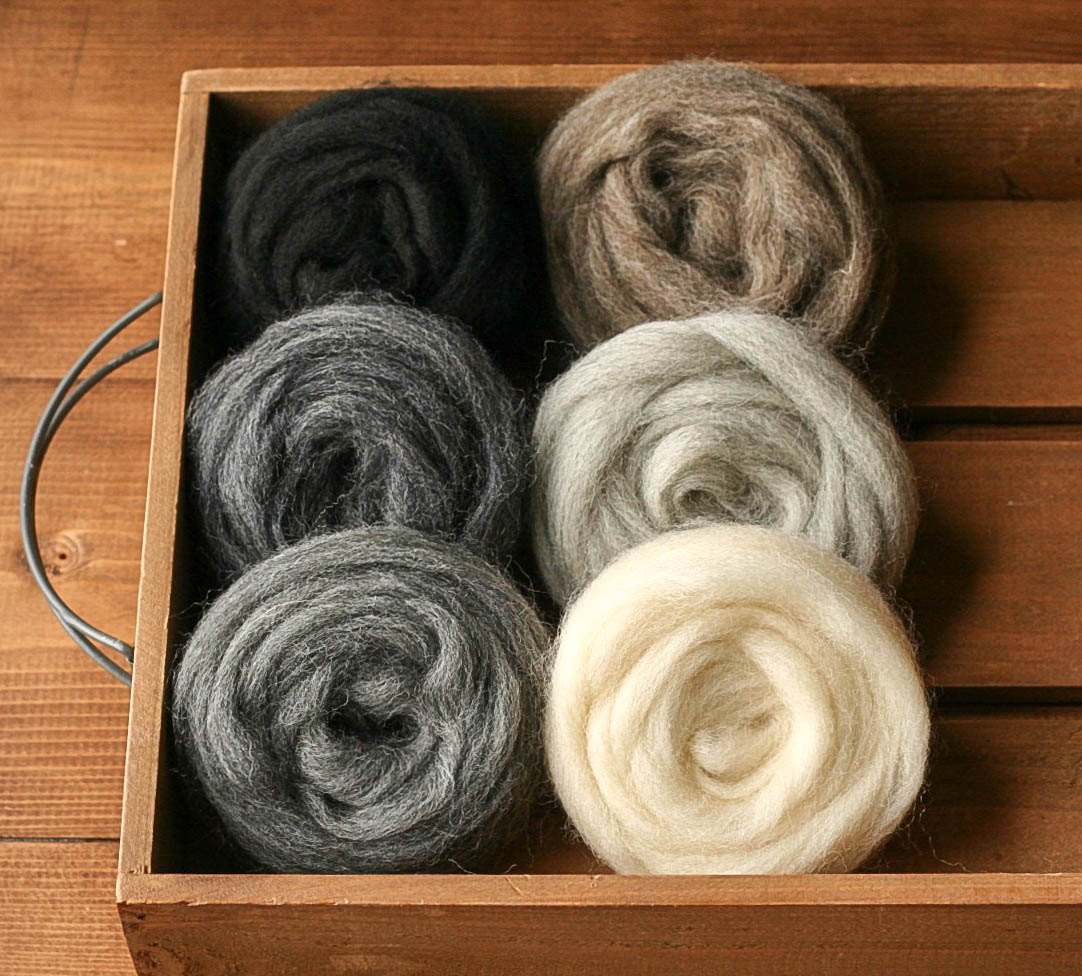 Wool Roving for Needle Felting, Assortment, Fiber Sampler, Neutrals, Black, White, Gray, Grey Skies, Felting Wool, Craft Supplies, DIY