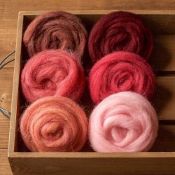 Wool Roving for Needle Felting, Assortment, Fiber Sampler, Pink, Red, Rose Bouquet, Wet Felting, Spinning, Felting Wool, DIY, Craft Supplies