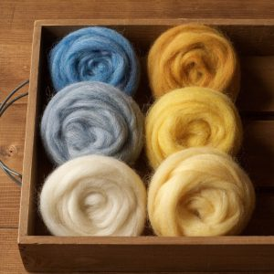 Wool Roving for Needle Felting, Assortment, Fiber Sampler, Sun and Sky, Blue, Yellow, White, Felting Wool, Craft Supplies, DIY