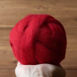 Wool Roving for Needle Felting in Crimson Red, Craft Supply, Wet Felting, Spinning, Christmas, Valentine's Day, Weaving, Chunky Yarn, DIY