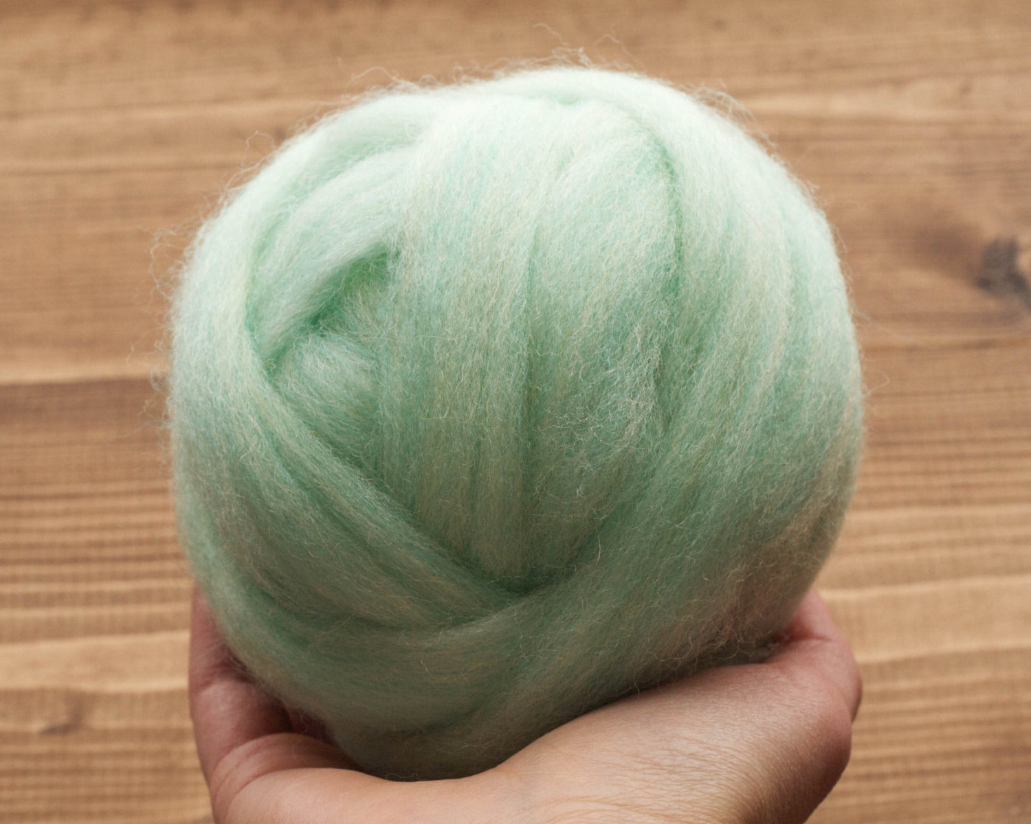 Wool Roving in Spearmint Green for Needle Felting, Wet Felting, Weaving, Spinning, Mint, Spring Green, Pastel, Light Green, Heather Green